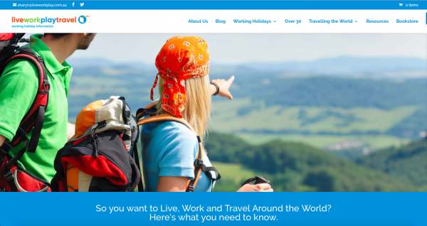 Live Work Play Travel website Home Page Showing 2 Travellers Travelling