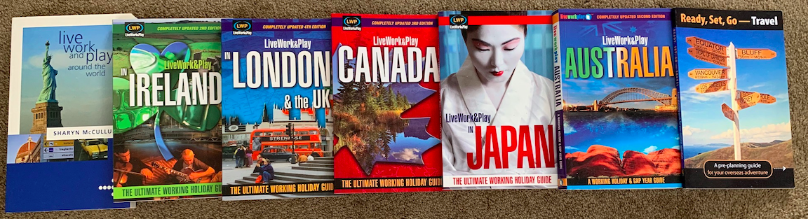 Live Work and Play Book Covers for World, Ireland, London, Canada, Japan, Australia and Ready, Set, Go-Travel.